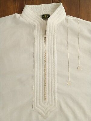 Ivory Embroidered Kaftan Original From Morocco - Size XXL