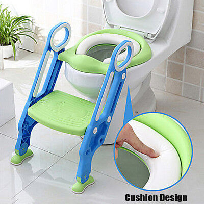 Kids Trainer Toilet Potty Soft Padded Seat Chair + Ladder Step Up Training Stool