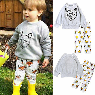 AU Toddler Newborn Baby Girls Boys Hoodies Pullover T-shirt Tops+Pants Set 0-24M