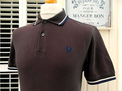 Fred Perry M1200 Brown Twin Tipped Pique Polo - M/L - Ska Mod Scooter Casuals