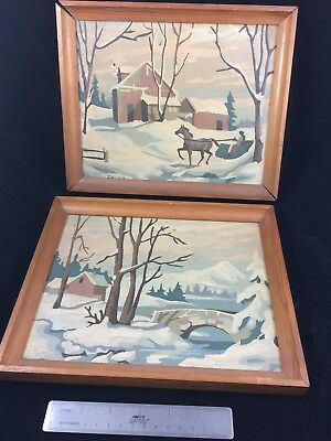 Vintage Mid Century Retro Pair of Paint by Numbers Winter Scenes Framed 1958
