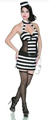 Halloween Prisoner Costume Trouble by Delicious Adult Womens Dress & Hat  Small