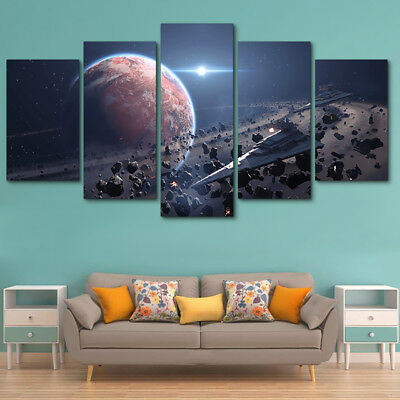 Movie Star Wars Game Painting 5 Panel Canvas Print Wall Art Poster Home Decor