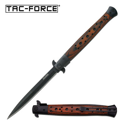 "TAC FORCE 13"" Extra Large Spring Assisted Open STILETTO HARDWOOD Pocket Knife"
