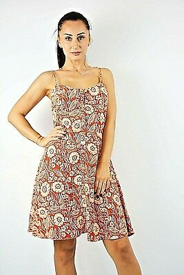 New Ex New Look Rust /& Nude Print Button Down Straps Fit /& Flare Dress Size 6-12