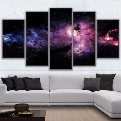 Starry Space Sky Nebula Painting 5 Panel Canvas Print Wall Art Poster Home Decor