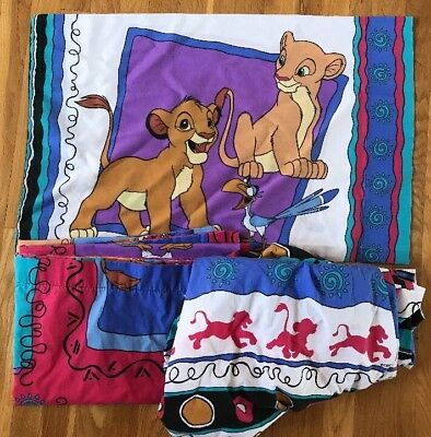Disney The Lion King 3 Piece Twin Size Bed Sheet Set Flat Fitted & Pillow Case