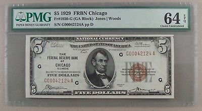 1929 Fr. 1850-G $5 Federal Reserve Note Chicago PMG Choice Uncirculated 64 EPQ