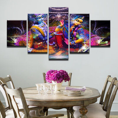 Lord Shiva And Parvati Love Story Painting 5 Panel Canvas Print Wall Art Poster