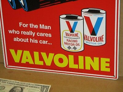 VALVOLINE Quart Oil METAL CAN SIGN With INDY RACE CAR getting Checkered Win Flag