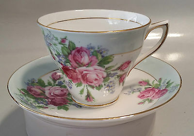 Rosina Bone China Cup & Saucer - Made In England - Roses & Forget-Me-Nots