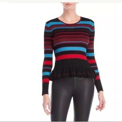 Torn by Ronny Kobo Bold Stripe Ruffle Sweater  NEW $328 Small