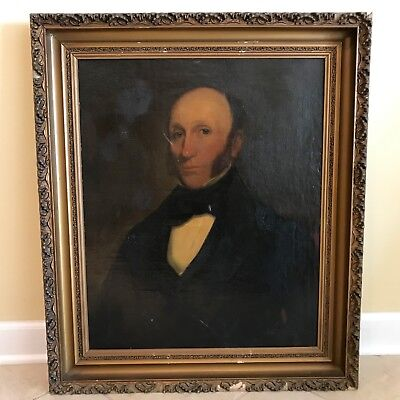 Antique 19th C. Portrait of a Gentleman Oil on Canvas Painting