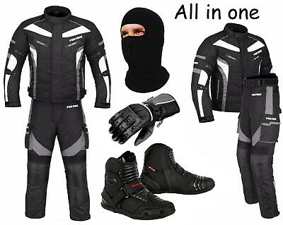 Waterproof Motorcycle Motorbike Moped Suit Jacket Trouser Gloves Boots - Grey