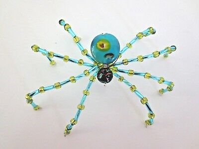 "Artist Crafted  Beaded ""Christmas Spider "" OOAK with Story Aqua Blue"