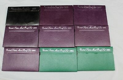 Lot of 9 US Mint Proof Sets (Between 1977 - 1994)