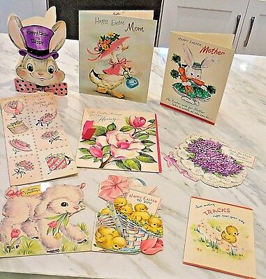 Lot of (9) Vintage Easter Cards - Used 1950's