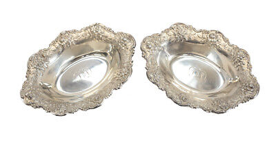 Pair S. Kirk & Son Sterling Silver Nut Dishes Repousse #142.