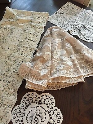 Vintage Lot of 4  Assortment of Quacker Lace and Crochet Head Rest - Lovely!