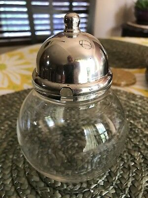 Crystal/Glass Condiment / Jam / Marmalade Jar/Pot w/Sterling (Marked) Silver Lid