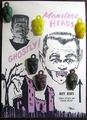 Monsters Heads Charms 1960s Vending Machine Display With 6 Original Charms