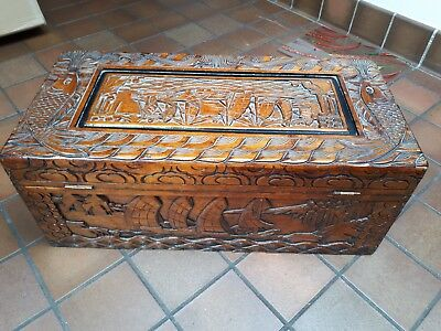 Ornate Carved Campher Trunk / Chest