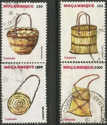 MOZAMIBQUE 1995 BASKETRY HANDCRAFTS Sc#1236-9 COMPLETE USED SET 1533