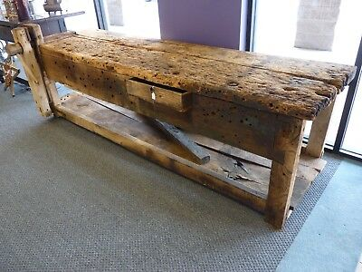 Antique Primitive HUGE Barn Rescue Carpenter's Workbench with Plank Top and Vise