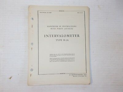 Instructions & Parts Catalog Type B-3A Intervalometer B-17 B-24 B-25 Air Corps