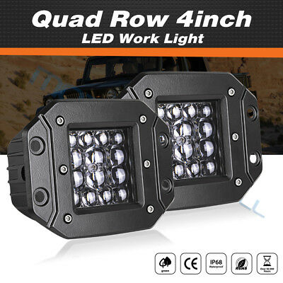 84W Flush Mount Backup Reverse Front Rear Bumper Led Lights Cube Pod Fog Lamp x2