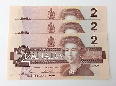 1986 Canada 3 Consecutive 2 Two Dollars CBH Canadian Uncirculated Banknote G203