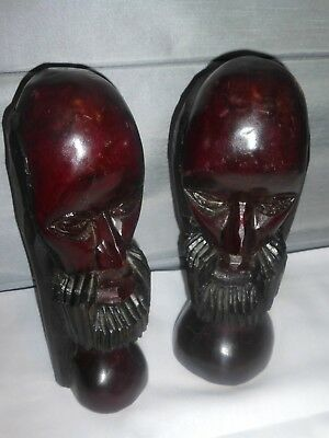 011118BX7 Pair of SOLID WOOD Hand Carved HEAD African Sculpture