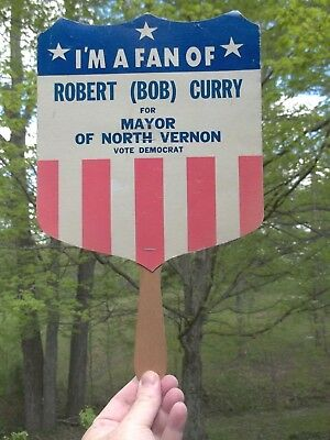 Vintage Robert Bob Curry for Mayor of North Vernon Indiana Hand Fan IN