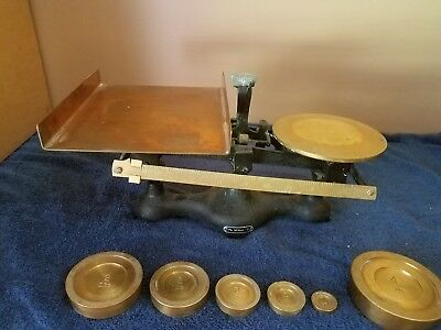 Antique Fairbanks Cast Iron & Brass Counter Scale. WITH WEIGHTS**SUPER NICE COND