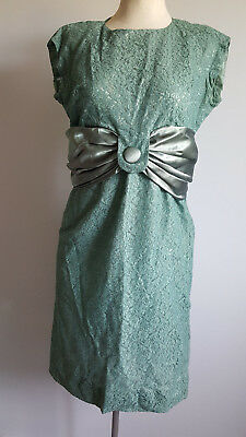 Vintage sage green lace and satin dress & jacket suit, size 46 (approx 18?)