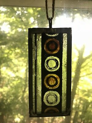 Architectural Salvage Leaded Stained Glass- Gold Circular Pattern