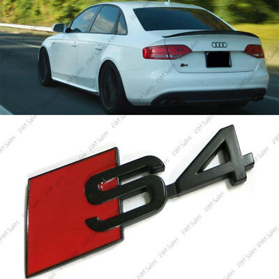 New Audi S4 Rear Black Red Glossy Badge Logo Wing Boot Sticker Adhesive Emblem S