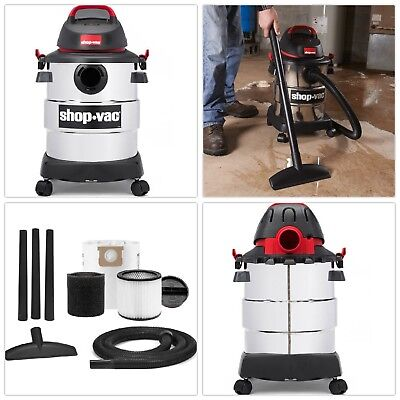 Shop Vac Wet + Dry Vacuum Cleaner, 6 Gallon 4.5 Peak HP Stainless Steel ShopVac