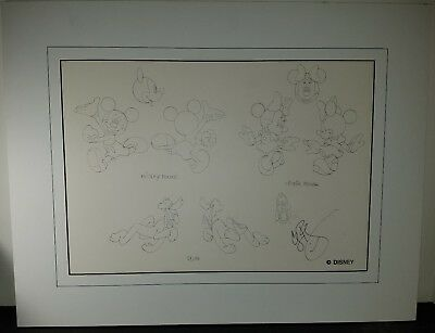 Disney Cody Reynolds Mickey Minnie Pluto Model Sheet Sketch Matted Signed 1997