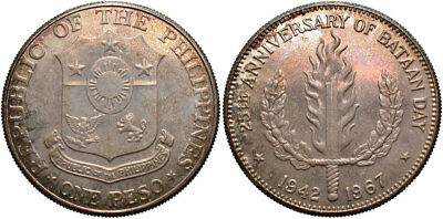 PHILIPPINES: 1967 1 Peso 25th Anniversary of Bataan Day #WC70784