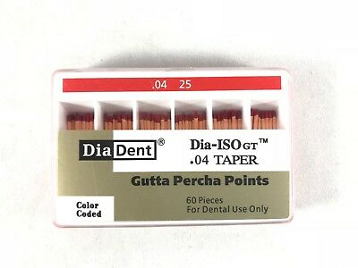 DIADENT Gutta Percha Points #0.04 Taper Endodontic Product (60 Pieces)