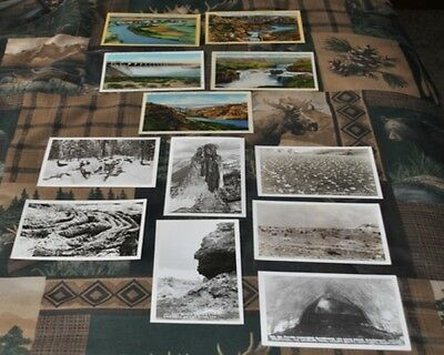 12 Vintage Post Cards From Idaho-Linen Colored & Black & White Real Views-Nice