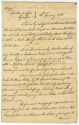 """Gibraltar 1798 """"No Hostilities Against Fishing Boats"""" Agreement Admiral & Doctor"""