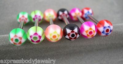 """1 PIECE 14g 5//8/"""" Winged Butterfly UV Acrylic Tongue Nipple Barbell Ring"""