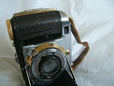 Very Rare Unusual WELTA WELTINI Folding 35mm Rangefinder Camera With Gold Parts