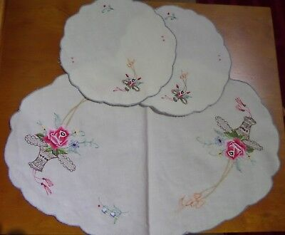 Vintage Cotton Embroidered Dressing Table Doily set 3 pieces