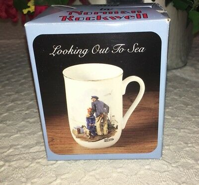 "1985 Norman Rockwell Museum ""LOOKING OUT TO SEA""  Cup Mug Gold Rim Coffee Tea"