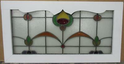 "OLD ENGLISH LEADED STAINED GLASS WINDOW TRANSOM Bordered Floral 34.5"" x 18.25"""