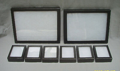 Lot Of 8 Riker Mount Display Cases Boxes (6) Small & (2) Medium