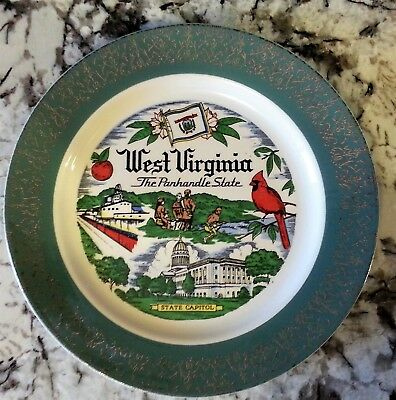 West Virginia State Souvenir Travel Collector Plate The Panhandle State Vintage